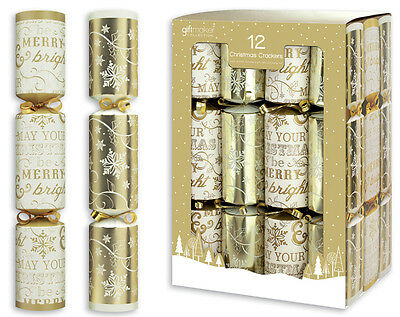 "12 x 12"" Contemporary Gold & White Christmas Crackers With Gifts Festive Party"