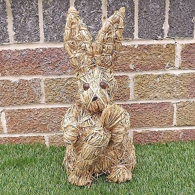 Straw Easter Bunny / Rabbit Holding A Carrot