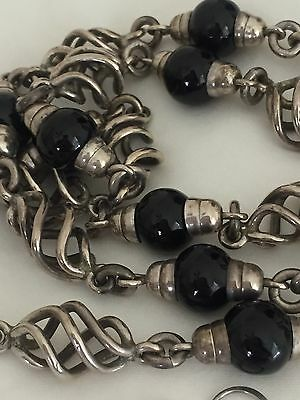 Vintage Taxco Mexico Sterling Silver Black Onyx SPIRAL Necklace Bracelet Earring