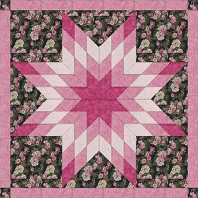 ORIENTAL ROSE STAR - Not Quilted, Machine Pieced, made in the USA