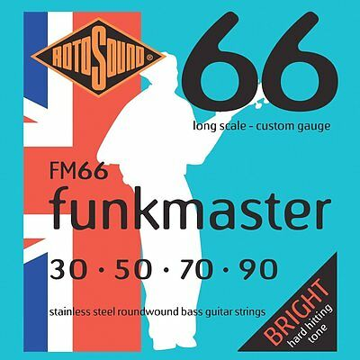 Rotosound FM66 Funkmaster Stainless Steel Roundwound Bass Guitar Strings 30-90