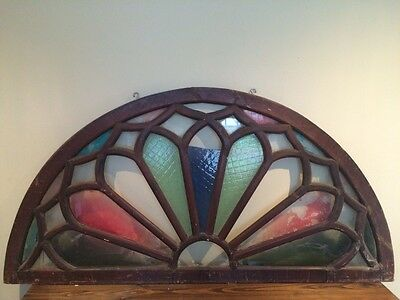 """Antique Vintage Architectural Salvage Arched Wooden TRANSOM Window - 67"""" x 34"""""""