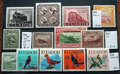 Ecuador Selection of Stamps – All Mint – Birds, Animals & Transport (Se1)