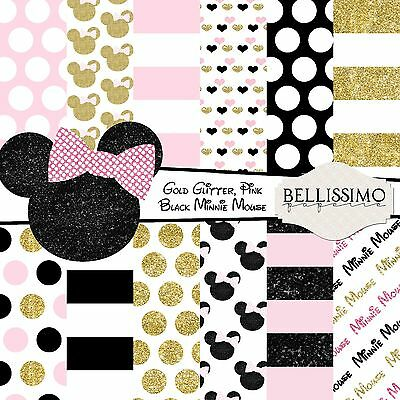 Minnie Mouse Pink Black & Gold Glitter Scrapbook Papers 12 Sheets Custom Design