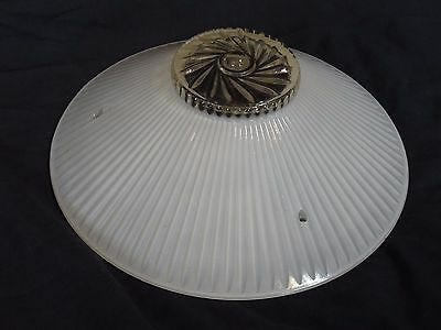 """Vintage 3-Chain Hanging Glass Ceiling Light Shade 10.25"""" diameter"""