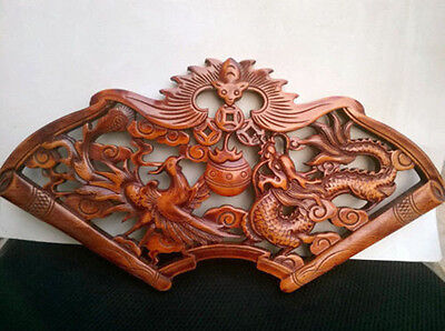 Chinese Hand Carved Dragon And Phoenix Statues Camphor Wood Plate Wall Sculpture
