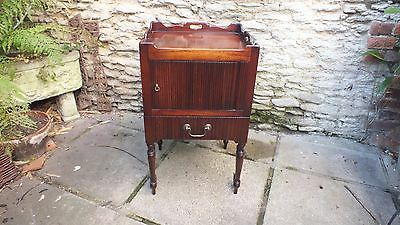 Mahogany Georgian Style tray top pot cupbord/ bedside cabinet