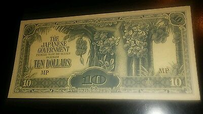 Malaya-Japan 10 Dollars Banknote (1942-44) About Uncirculated Condition