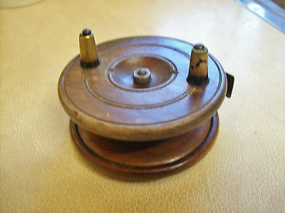 Old wooden fishing reel, floats and hooks etc
