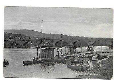 PERTH Bridge & Boat Station Early RP Perthshire Postcard