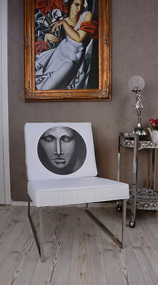 Lounge Designer Chair White & Chrome Im Art Deco