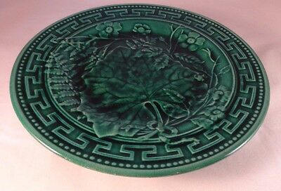 """Majolica Green Cabbage Leaf Staffordshire 9"""" Tazza Comport cake Plate Stand VGC"""