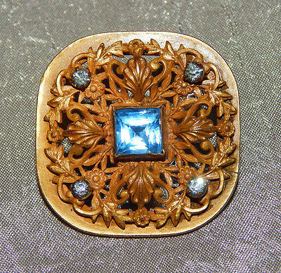 Antique Victorian Button Brass & Blue Faceted Stones Open Works #001-A