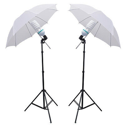 "1250W Photo Studio 2x33"" 84cm translucent soft White Umbrella Lighting Stand Kit"