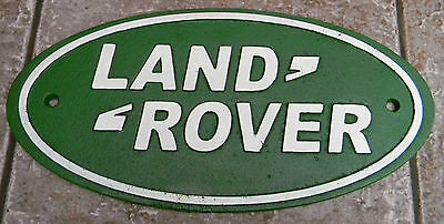 """Superb Large Heavy Cast Iron Advertising Sign """" Land Rover """" Approx 14"""" Wide"""