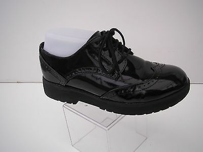 BLACK PATENT LEATHER CHUNKY SOLE LACE UPS EX.CONDITION V.COMFY Uk4