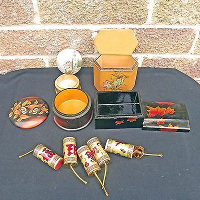 4 Boxes, HNA Bamboo, 2 Lacquer, Painted & 5 Firecracker Trinket Canisters