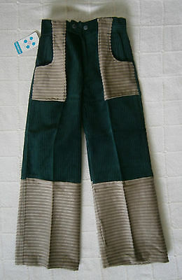 Vintage Flared Trousers - Age 8 - Bottle Green/Beige Cord - Zip front - New
