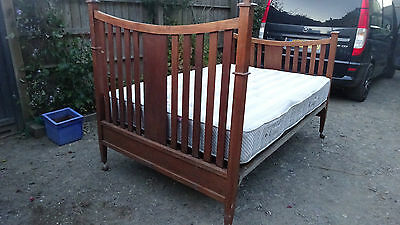 antique bed 4'6  & mattress wooden arts & crafts