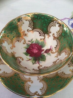 Paragon Vintage China Cup And Saucer Bright Green With Red Roses