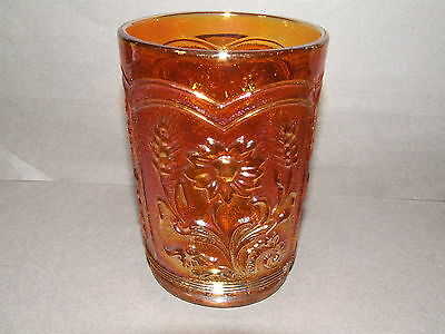 Carnival Glass Tumbler Antique Vintage Imperial Marigold Field Flower (Cg50)