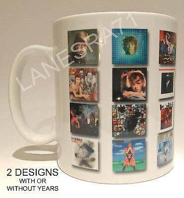 "David Bowie "" Albums 1967 - 2016 ""  Coffee Mug. ** Choose from 2 designs **"