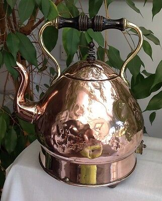 Vintage CREDA Electrical Electric Copper Kettle WOOD BRASS HANDLES FEET Retro
