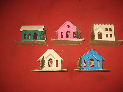 Vintage Lot Of 5 Mica Putz Christmas Houses Made in Japan