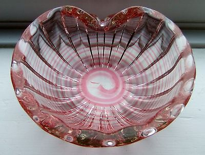 STUNNING Vintage Pink Murano Art Glass Bowl LOOK