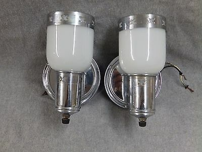 Vtg Chrome Brass Sconce Pr Wall Light Milk Glass Shades Old Art Deco 2179-16