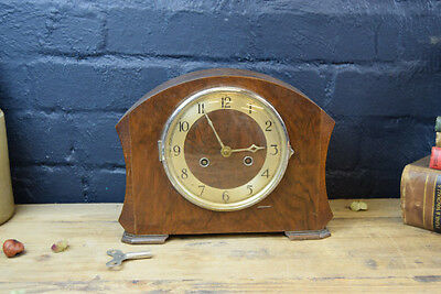 1930S German Friedrich Mauthe Comet Oak Cased Chrome Faced Mantel Clock