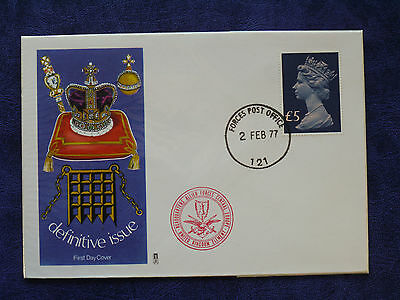 02-02-1977 GB ERII £5 Definitive FDC Illustrated Cover Forces PO CDS VFC