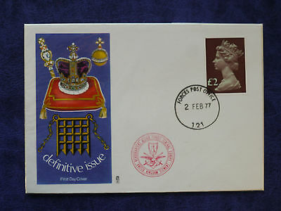 02-02-1977 GB ERII £2 Definitive FDC Illustrated Cover Forces PO CDS VFC