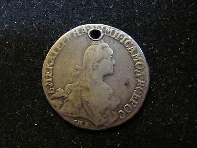 Russia 1769 20 Kopeks Catherine II VG Details - Holed (D34) Free Shipping!