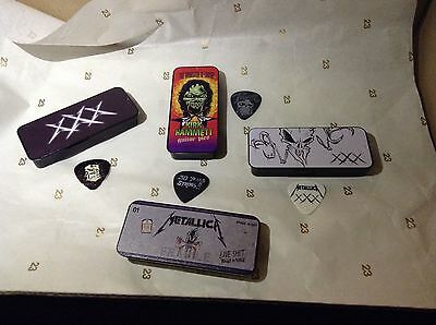 Metallica XXX Guitar 4 Picks & 4 Tins Christmas gift stash tins collectables  2