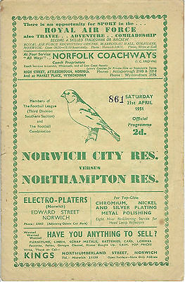 NORWICH CITY RESERVES v NORTHAMPTON TOWN 50-51 Football Combination Programme
