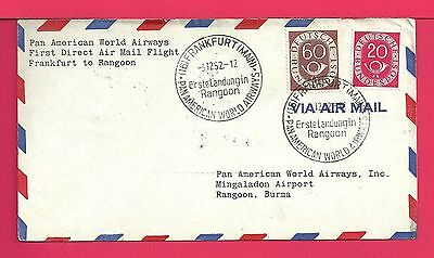 1952 Germany First Flight Airmail Cover To Burma Fam 18 Aamc F18-182