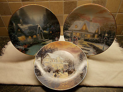 Thomas Kinkade Collectors Plates Lot of 3 Numbered by Knowles