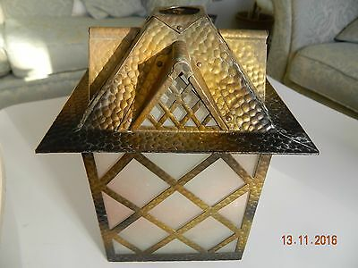 1910  Arts & Crafts Copper  Glass  Porch Lantern Lamp Light