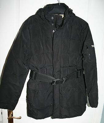 Woolrich John Rich & Bros Down Blizzard Black Parka Belted Jacket 10 Y Excellent