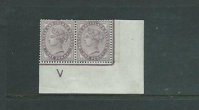 1d LILAC CONTROL V PAIR WITH IMPERF MARGIN VERY LIGHTLY MOUNTED MINT