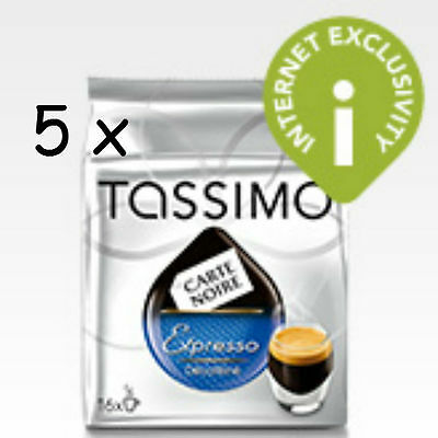 Tassimo Carte Noire Espresso Decaffeinated Coffee 5 Pack 80 t disc, cups decaf