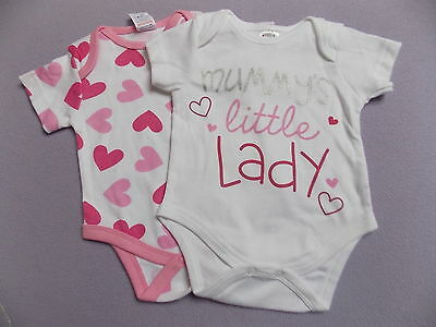 Baby Clothes Baby Girls Mummys Little Lady X2 Bodysuit Vest Top 0-3 Months New
