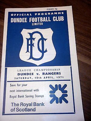 Dundee Fc V Rangers Scottish League 10Th April 1971 Good Condition