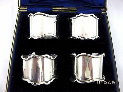 Antique Solid Silver  Boxed SET OF 4 NAPKIN RINGS Hallmarked BIRMINGHAM 1904