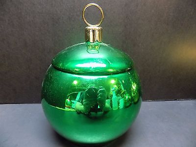 """Large 8"""" Teleflora Green & Gold Christmas Ornament Cookie Jar, Candy Dish -NICE!"""