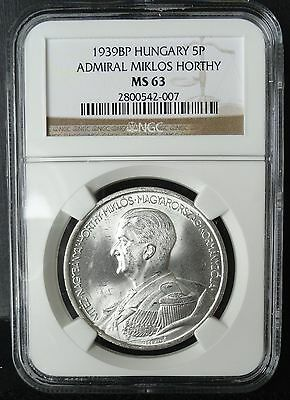 1939BP HUNGARY 5 PENGO MS 63 NGC  SILVER  Admiral M.Horthy