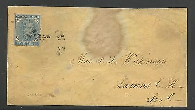 US USA Confederate States of America Sc# 7 USED F on Cover Jefferson Davis