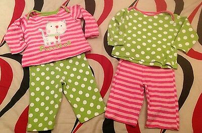 Baby Girl 2 Pairs Mix & Match Pyjamas 3-6 Months Pink Green Stripes Cat Purrfect