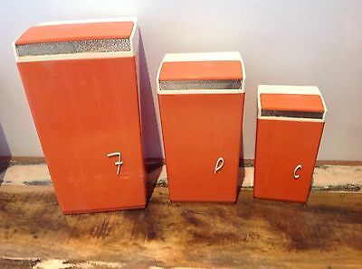 RETRO NALLY VINTAGE ORANGE CANISTERS SET OF THREE Storage Containers
